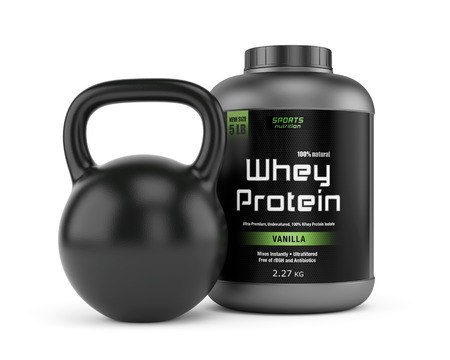 kilos: Weight kettlebell and jar of whey protein isolated on white background. Sports nutrition, bodybuilding supplements, gym, fitness and healthy lifestyle concept.