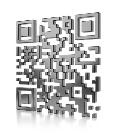 Abstract illustration of QR code isolated on white background with reflection effect illustration