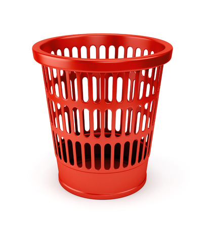 wastepaper basket: Empty red wastebasket icon isolated on white background