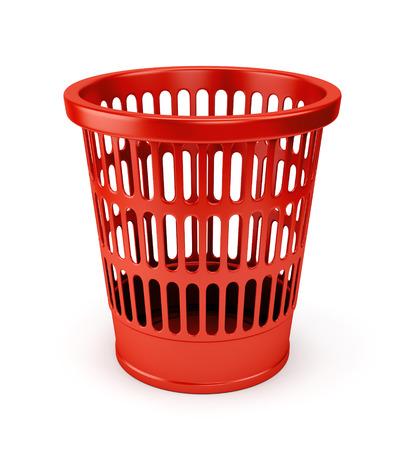 wastebasket: Empty red wastebasket icon isolated on white background