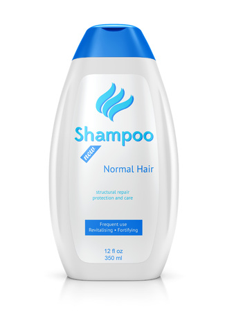 packaging: Bottle of shampoo isolated on white background