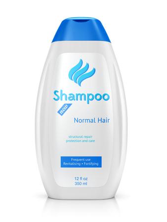 Fles shampoo op een witte achtergrond