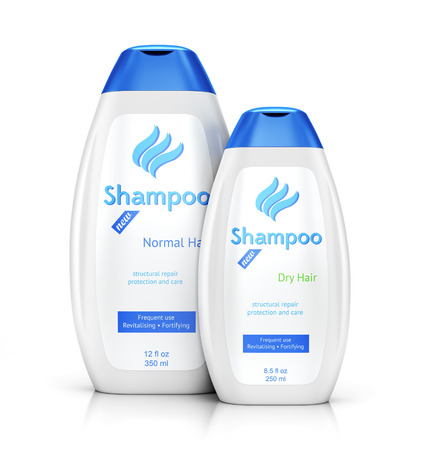 Two plastic bottle containers of shampoo for normal and dry hair isolated on white background with reflection effect