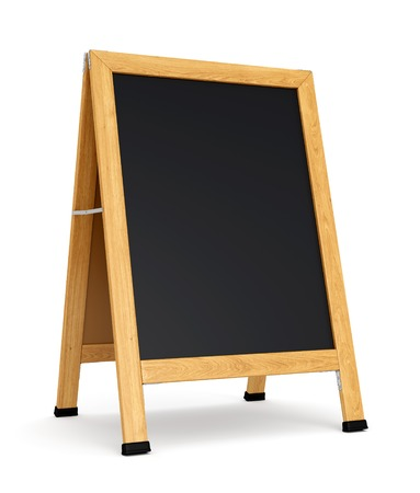 Wooden sidewalk sign with blank black menu board isolated on white background