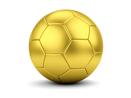 Sports award concept. Golden soccerball isolated on white. photo
