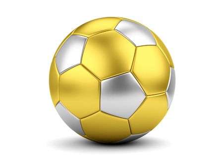 Sports award concept. Gold and silver soccerball on white photo
