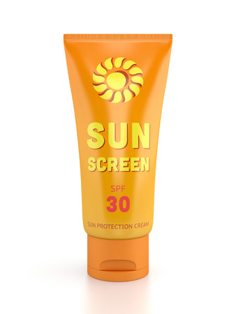 Summer, sun tanning and sunscreen concept. Tube container of sun cream isolated on white glossy background.