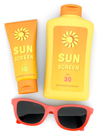 Bottle and tube of sunscreen and red sunglasses isolated on white. Sun tanning concept.