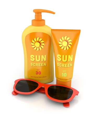 Bottle and tube of sunscreen and red sunglasses isolated on white. Summer sun tanning concept. Stock Photo