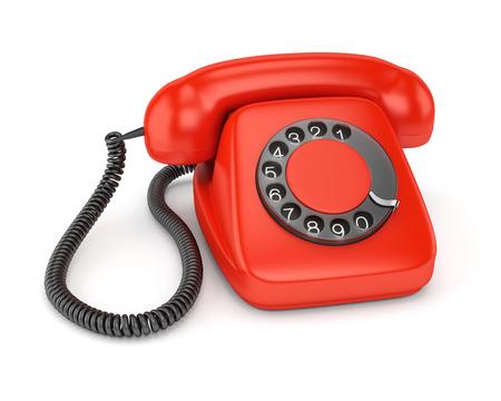rotary dial telephone: Rojo tel�fono de disco retro aislado en el fondo blanco Foto de archivo