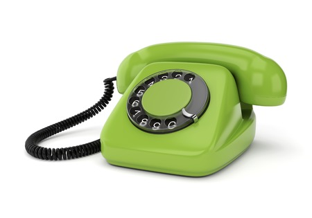 rotary dial: Green retro rotary dial telephone isolated on white background. Realistic 3D render.