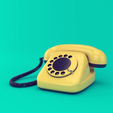 Gele retro telefoon op blauwe achtergrond. Vintage draaiknop telefoon technologie illustratie. Stockfoto