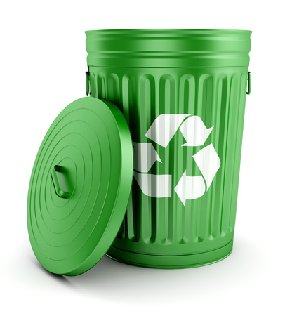 wastepaper basket: Green metal open trash can with recycling symbol and lid isolated on white background