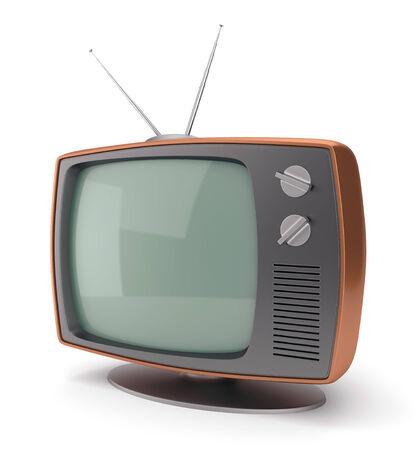tvset: Old fashioned 70 style vintage TV set icon isolated on white background