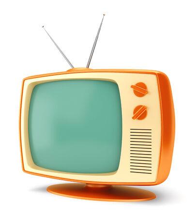 old tv: Old fashioned 70 style vintage cartoon TV set isolated on white background