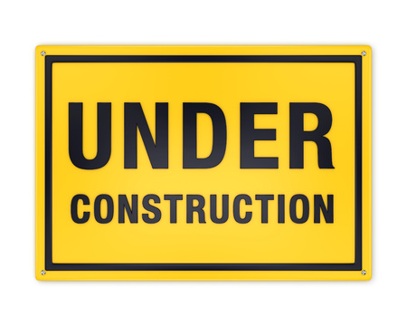wait sign: Under construction sign: yellow metal plate with black text in frame attached with screw-bolt isolated on white background