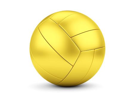 Sports award concept. Golden soccerball on white photo
