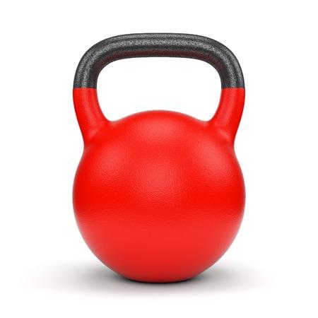 흰색 배경에 고립 된 빨간색 체육관 무게 주전자 벨