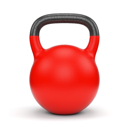 Red gym weight kettle bell isolated on white background Archivio Fotografico