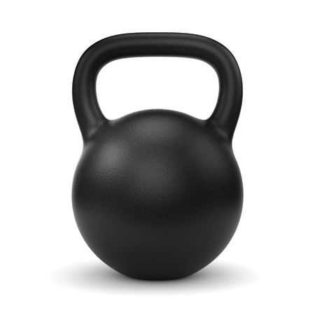 Black metal gym weight kettle bell isolated on white background Foto de archivo