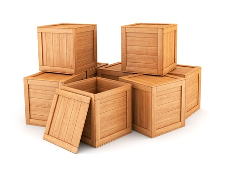 Group of wooden boxes isolated on white background. Shipping, cargo, warehouse and logistic concept.