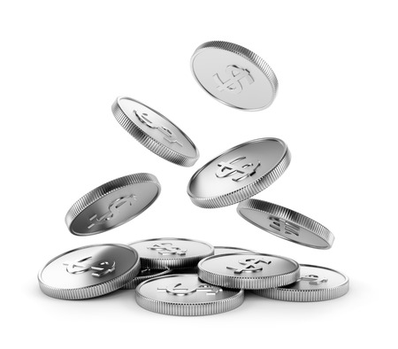 Making money, business success, finance, wealth, casino winning and jackpot concept. Falling coins with dollar symbol isolated on white background. photo