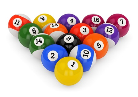 Triangle group colorful glossy pool game balls with numbers isolated on white background. Set of retro poolballs.