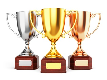football trophy: Golden, silver and bronze trophy cups isolated on white background. Three award goblet trophies.