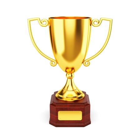 Golden trophy cup isolated on white background. 1st place award goblet. photo