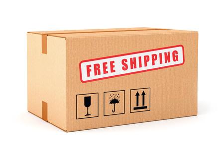 Etiqueta de envío gratuito Caja de cartón aisladas sobre fondo blanco. Las compras en línea, entrega de correos y el concepto de comercio electrónico. Foto de archivo - 35294316