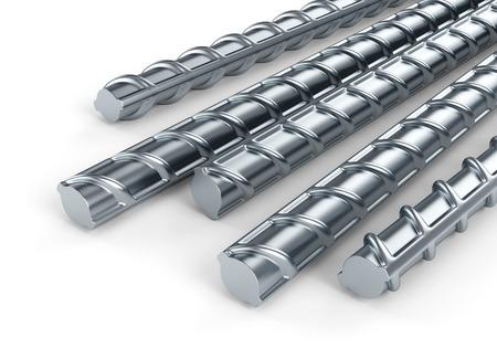 Les barres d'armature en acier. Bâtiment induit sur fond blanc. Banque d'images - 35603801
