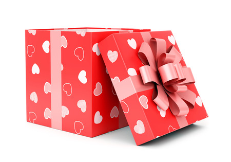 giftbox: Valentines day celebration, love and relationship concept. Open red giftbox with hearts texture and pink bow isolated on white background.