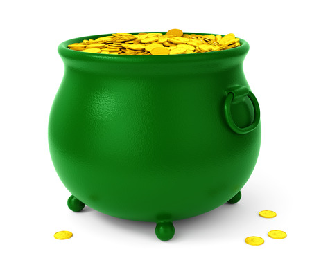 abundance: Green pot with gold coins isolated on white background. St Patricks days celebration concept.