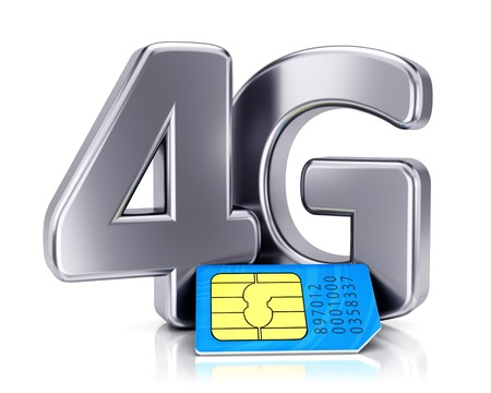 SIM card and 4G icon isolated on white background. Mobile communication technology and wireless high speed internet connection concept.