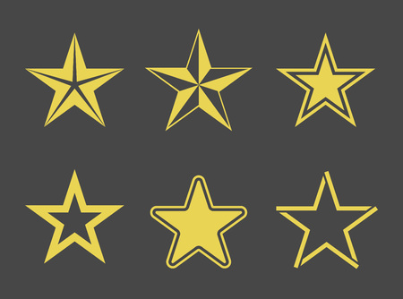 Set of different styled star icons. Vector pictograms collection. Vector