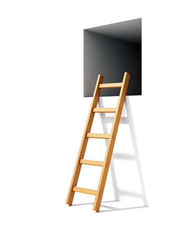 ladder safety: Wooden ladder and window isolated on white background. Abstract freedom concept.