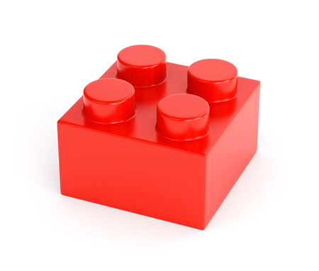building block: Toy building block. Red plastic brick isolated on white background.