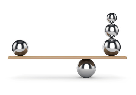 equilibrium: Abstract balance and harmony concept. Metal balls on plank isolated on white background.
