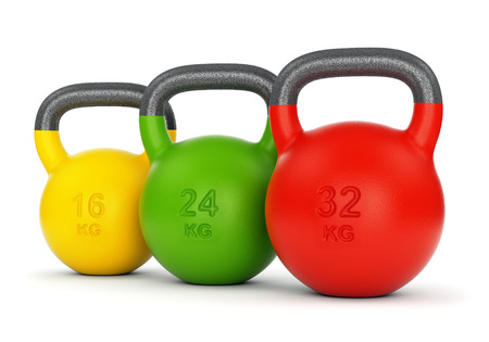 Three colorful gym kettle bells with different weight numbers isolated on white background. Fitness sport training and lifting concept. 3D illustration