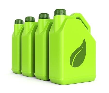 biodiesel: Gasoline jerrycans with leaf icon isolated on white background. Green energy and bio fuel concept. Stock Photo