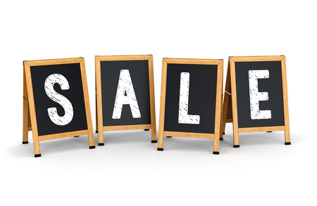 sidewalk sale: Sidewalk signs with text SALE isolated on white background. Business promotion and marketing concept. Stock Photo
