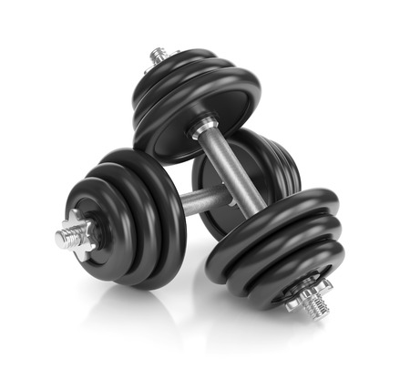 dumbell: Pair of dumbbells isolated on white background. Fitness, bodybuilding and healthy lifestyle concept. Stock Photo