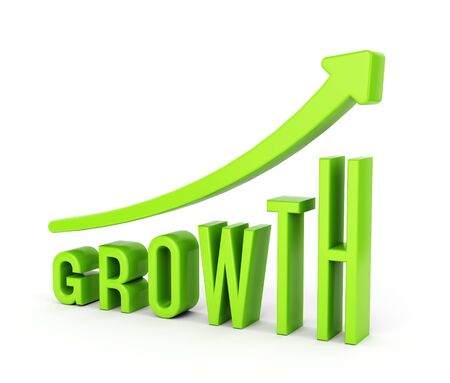 Save Download Preview Growing graph chart with arrow and text GROWTH. Business progress and development concept. 3D illustration Stock Photo