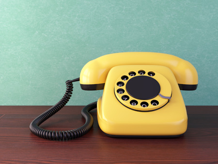 rotary: Yellow retro rotary dial telephone on wooden table. Vintage illustration.