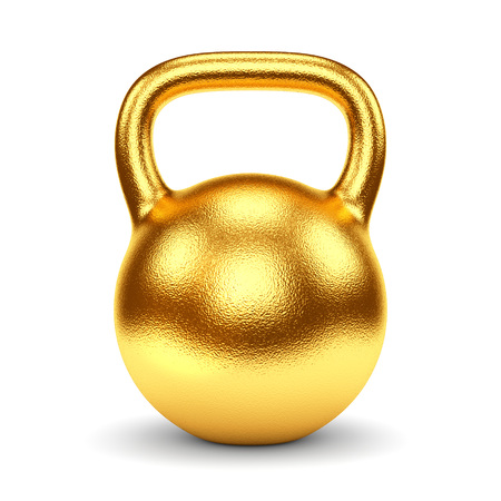 kettlebell: Gold gym weight kettle bell isolated on white background. Sports award, trophy and championship concept.