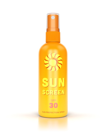 Sunscreen spray isolated on white glossy background. Summer, sun protection and tanning concept.