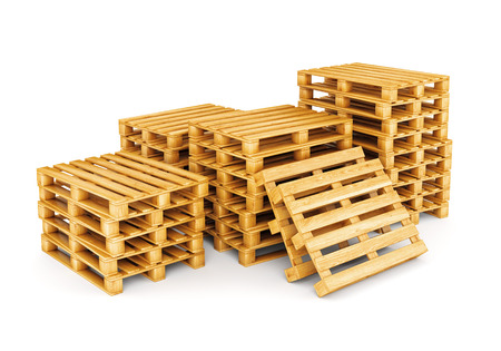 Stack of wooden pallets isolated on white background. Cargo, shipping and warehouse concept.