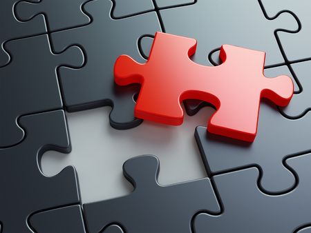 Missing puzzle piece. Business creativity teamwork and solution concept. 3D illustration