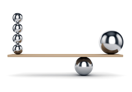Abstract balance, harmony and justice concept. Metal spheres on plank isolated on white background.