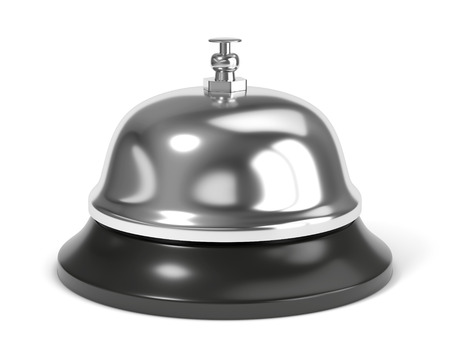 Reception bell with button isolated on white background photo